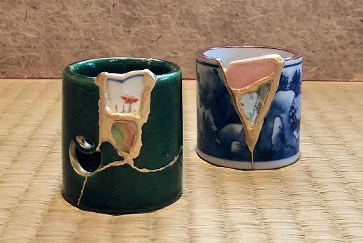 金継教室 呼継ぎで作る蓋置 陶器御見本